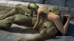 Blonde girl sucks huge cock of cartoon Hulk