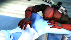 Cartoon Deadpool skillfully licking pussy of sexy blue woman