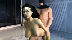 Batman extreme bangs Wonderwoman in her tight mouth