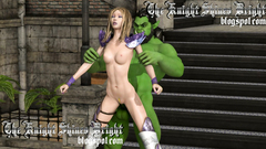 Green Orc grabbed the young elf and wildly fucks her in Doggystyle position