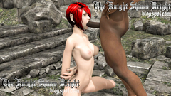 Redhead skinny Elf swallows big black dick