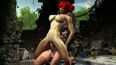 Big titted redhead Elf ride a huge dick