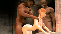Two giant black guys fucking a soft redhead girl