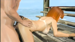 Cute beach porn in 3d style with hot couple getting horny