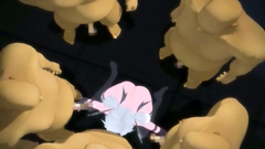 Sexy anime girl in the circle of kinky naked males of unknown origin