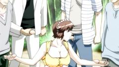 Busty hentai lady among many hard cocks