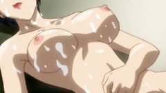 Adorable anime lady with short hair and big tits covered with cum