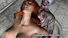 Busty young redhead girl hardcore fucked by monster