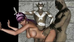 Hot naked 3d babe gets destroyed by two horny monsters