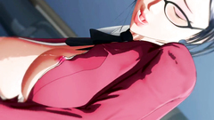 Business woman in a red suit and black stockings masturbates her wet vagina
