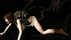 Scary monster with tentacles fucks tourist in a dark forest