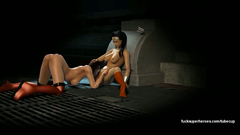 Amazing lesbians - WonderWoman and Harley Quinn licks each other pussy's