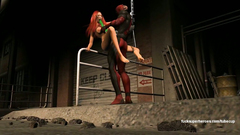 Deadpool bangs redhead big titted girl in her anal hole