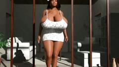 Very big cartoon black tits