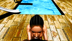 3D POV with amazing skinny brunette girl by the pool