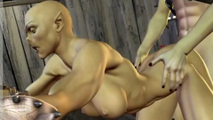 Female Orc with big boobs gets brutal sex in her anus