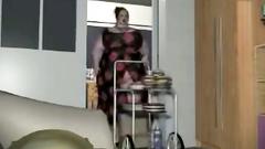 Redhead BBW woman in glasses swallows huge dick