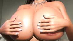 Fabolous busty 3D brunette girl in sexy black lingerie