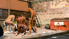 Group brawny guys brutally fucked by two skinny girls on the street