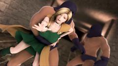 Evil guys and 3D monster bangs cute blonde princess