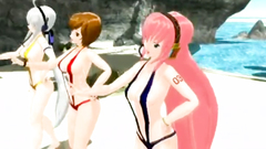 Three incredible anime babes in bikini show their sexy naked bodies on the beach