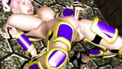 Cum fills the mouth and pussy of a gorgeous 3d maiden
