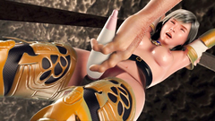 Dirty 3D Monster chained Sexy girl handcuffs and pushed in her pussy dildo