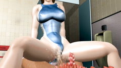 Hot and busty brunette from 3d toon rides dick