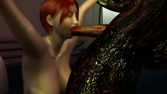 Busty redhead beauty roughly fucked by ugly monster
