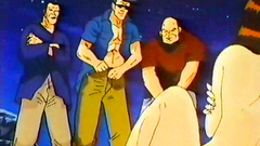 Old school drawn sex cartoon - naked gal in the gangbang