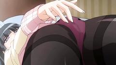 Long-legged black-haired cutie in nice hentai cartoon