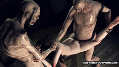 Hardcore threesome fuck in 3d cartoon with ugly monsters