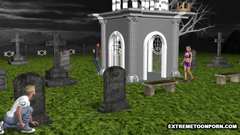 Hardcore threesome 3D fuck on the cemetery