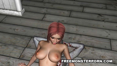 Evil pussy and throat fuck from ugly zombie